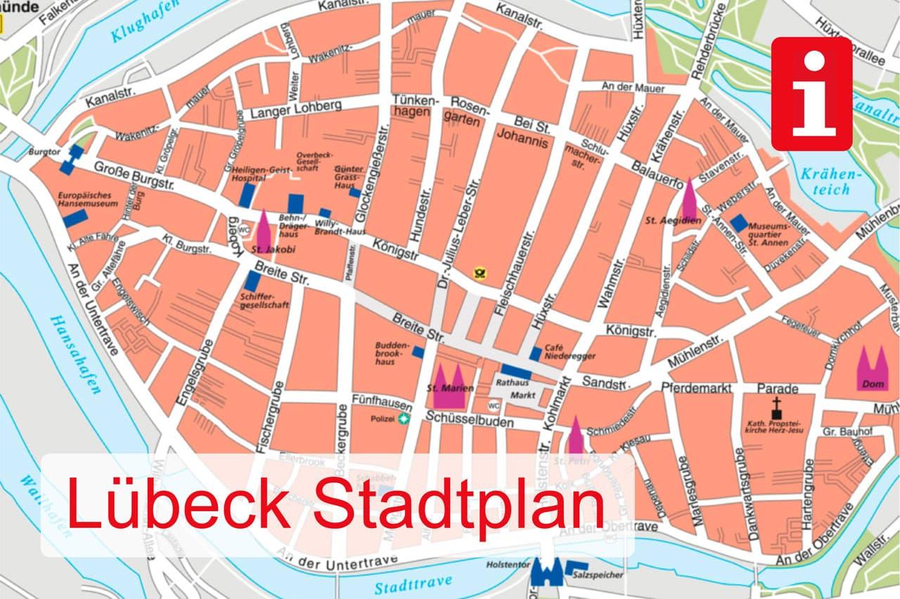 Aktueller Stadtplan von Lübeck
