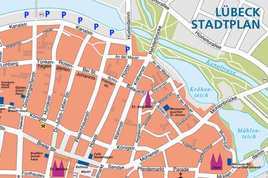 Parken in Lübeck. Parken nahe der Hüxstraße.