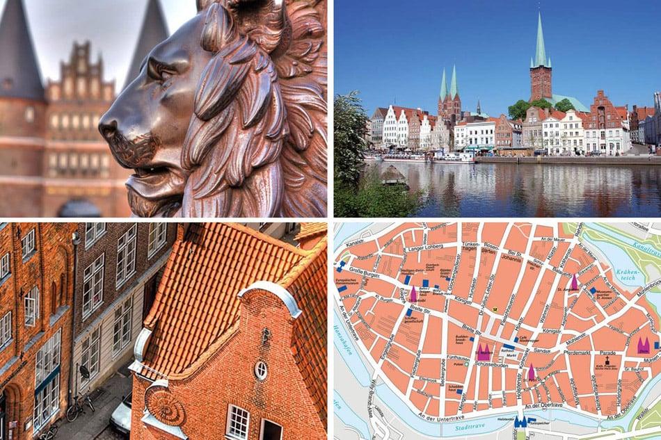 Lübeck-Shopping-Guide mit Holstentor, Obertrave und Stadtplan.