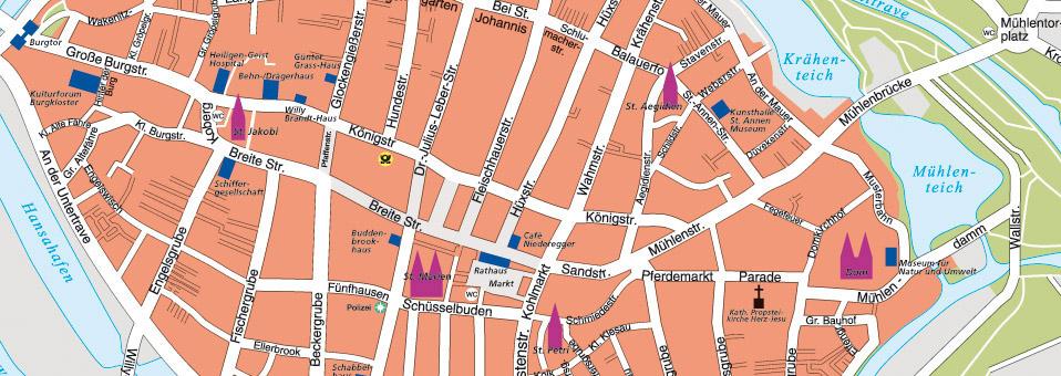Stadtplan für Lübeck